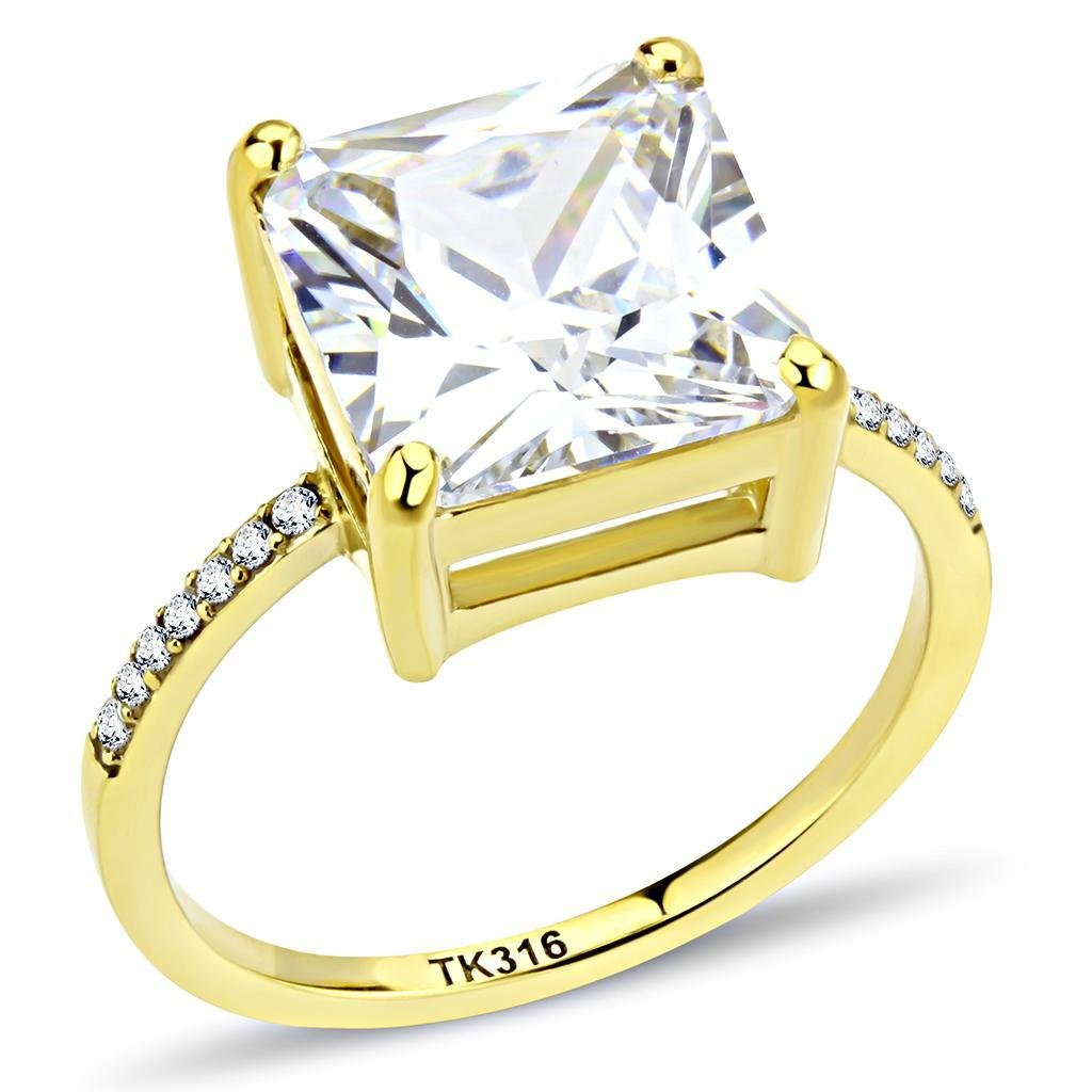 DA172 IP Gold Stainless Steel AAA Grade CZ Square Cut Engagement Ring