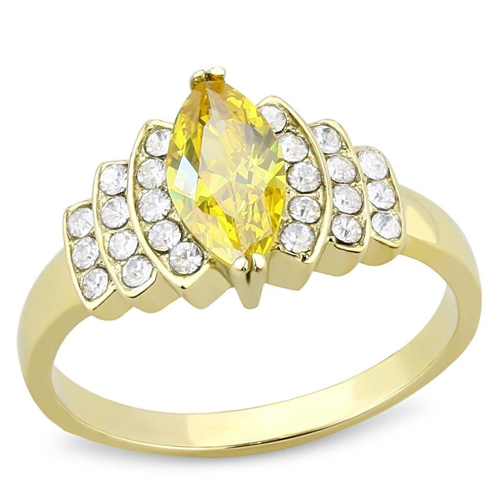 TK3239 IP Gold Stainless Steel AAA Grade CZ Marquise Cut Topaz Engagement Ring