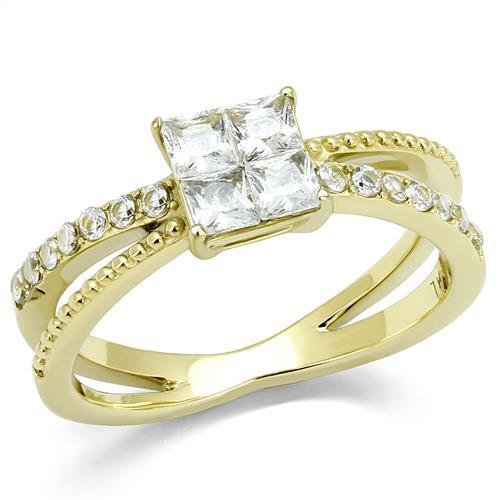 TK3181 IP Gold Stainless Steel AAA Grade CZ Square Cut Engagement Ring