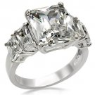 TK007 High polished Stainless Steel  AAA Grade CZ Square Cut Engagement Ring