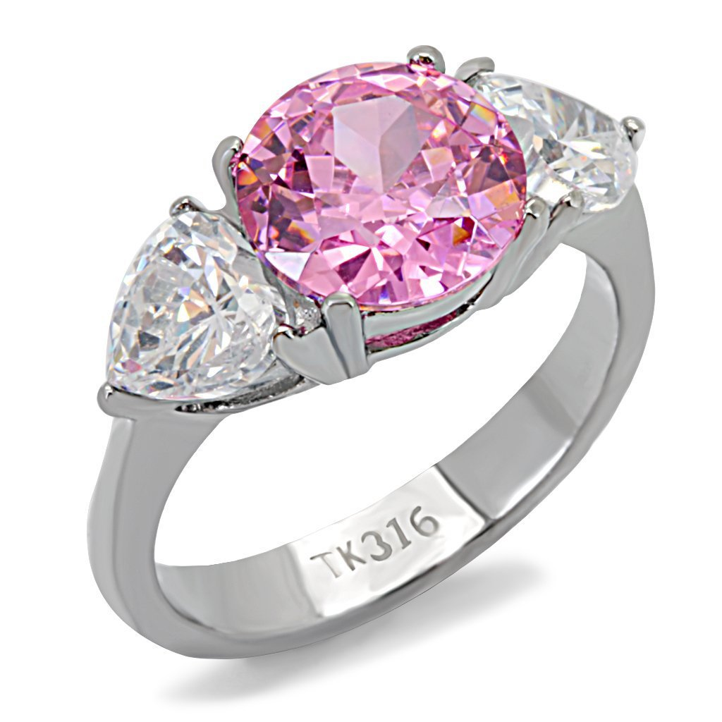 TK164 High polished Stainless Steel AAA Grade CZ Round Cut Rose Engagement Ring