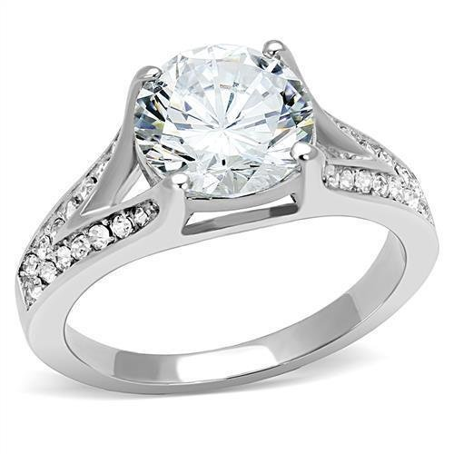 TK3020 High polished Stainless Steel AAA Grade CZ Round Cut Engagement Ring