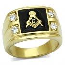 TK719 IP Gold Stainless Steel AAA Grade CZ 4 Stone Masonic Ring