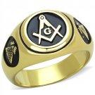 TK2050 IP Gold Stainless Steel No Stone Masonic Ring