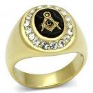 TK766 IP Gold Stainless Steel Top Grade Crystal Masonic Ring