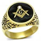 TK768 IP Gold Stainless Steel Top Grade Crystal Masonic Ring