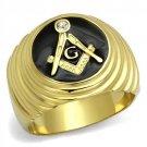 TK2224 IP Gold Stainless Steel Top Grade Crystal Masonic Ring