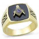 TK3223 IP Gold Stainless Steel Synthetic Onyx Jet Black Masonic Ring
