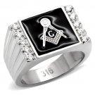 TK8X030 High polished Stainless Steel  AAA Grade CZ Masonic Ring