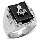 TK8X027 High polished Stainless Steel Semi-Precious Agate Jet Black Masonic Ring