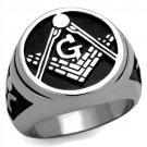 TK2315 High polished Stainless Steel Epoxy Jet Black Masonic Ring