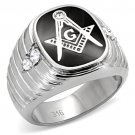 TK8X024 High polished Stainless Steel Top Grade Crystal Masonic Ring