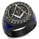 TK2637 Two Tone IP Light Black Stainless Steel Top Grade Crystal Black Diamond Masonic Ring