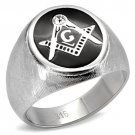 TK02222 High polished Stainless Steel Top Grade Crystal Masonic Ring