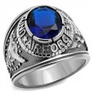 TK414708 High polished Stainless Steel Synthetic Glass U.S Air Force Military Ring Sapphire