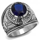 TK414707 High polished Stainless Steel Synthetic Glass U.S Navy Sapphire Ring