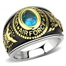 TK3725 Two-Tone IP Gold Stainless Steel Synthetic Glass Sea Blue U.S. Air Force Military Ring