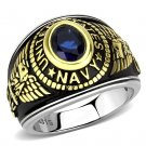 TK3726 Two-Tone IP Gold Stainless Steel Synthetic Glass Montana U.S. Navy Military Ring