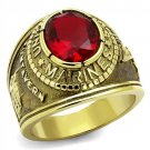 TK414703G IP Gold Stainless Steel Synthetic Glass Siam U.S. Marines Military Ring