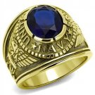 TK414707G IP Gold Stainless Steel Synthetic Glass Montana U.S. Navy Military Ring