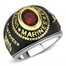 TK3723 Two-Tone IP Gold Stainless Steel Synthetic Glass Red Series U.S. Marine Ring