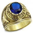 TK414708G IP Gold Stainless Steel Ring Synthetic Glass Montana U.S. Air Force Military Ring