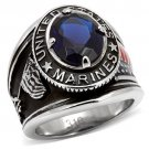 TK130 High polished Stainless Steel Synthetic Glass Montana U,S. Marines Ring