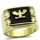 TK793 IP Gold Stainless Steel Semi-Precious Agate Jet Black Military Eagle Ring