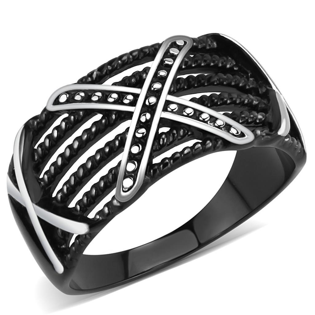 TK3468 IP Black Stainless Steel No Stone Men's Cross Ring