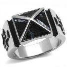 TK3075 High polished Stainless Steel Leather Jet Men's Cross Ring