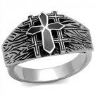 TK2505 High polished Stainless Steel Epoxy Jet Black Men's Cross Ring