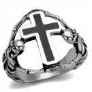 TK2313 High polished Stainless Steel Epoxy Jet Black Men's Cross Ring