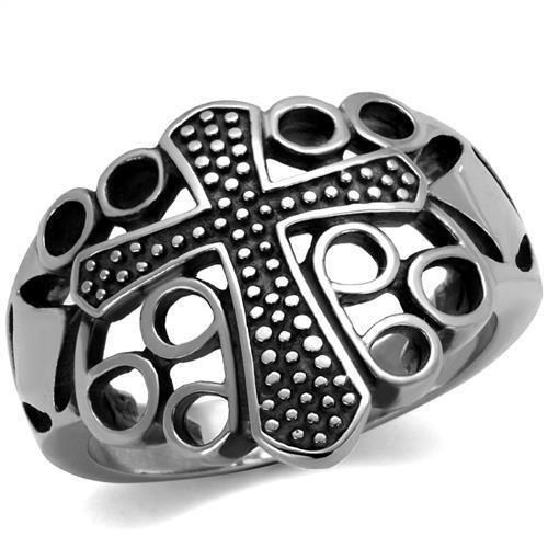 TK2320 High polished Stainless Steel Epoxy Jet Black Men's Cross Ring