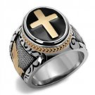 TK2623 Two-Tone IP Rose Gold Stainless Steel Ring Epoxy Jet Black Men's Cross Ring