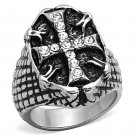 TK1351 High polished Stainless Steel Top Grade Crystal Men's Cross Ring
