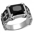 TK2055 High polished Stainless Steel Synthetic Glass Jet Black Men's Cross Ring