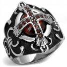 TK2507 High polished Stainless Steel AAA Grade CZ Garnet Men's Cross Ring