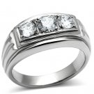 TK491 High polished Stainless Steel AAA Grade CZ Round Cut 3 Stone Ring