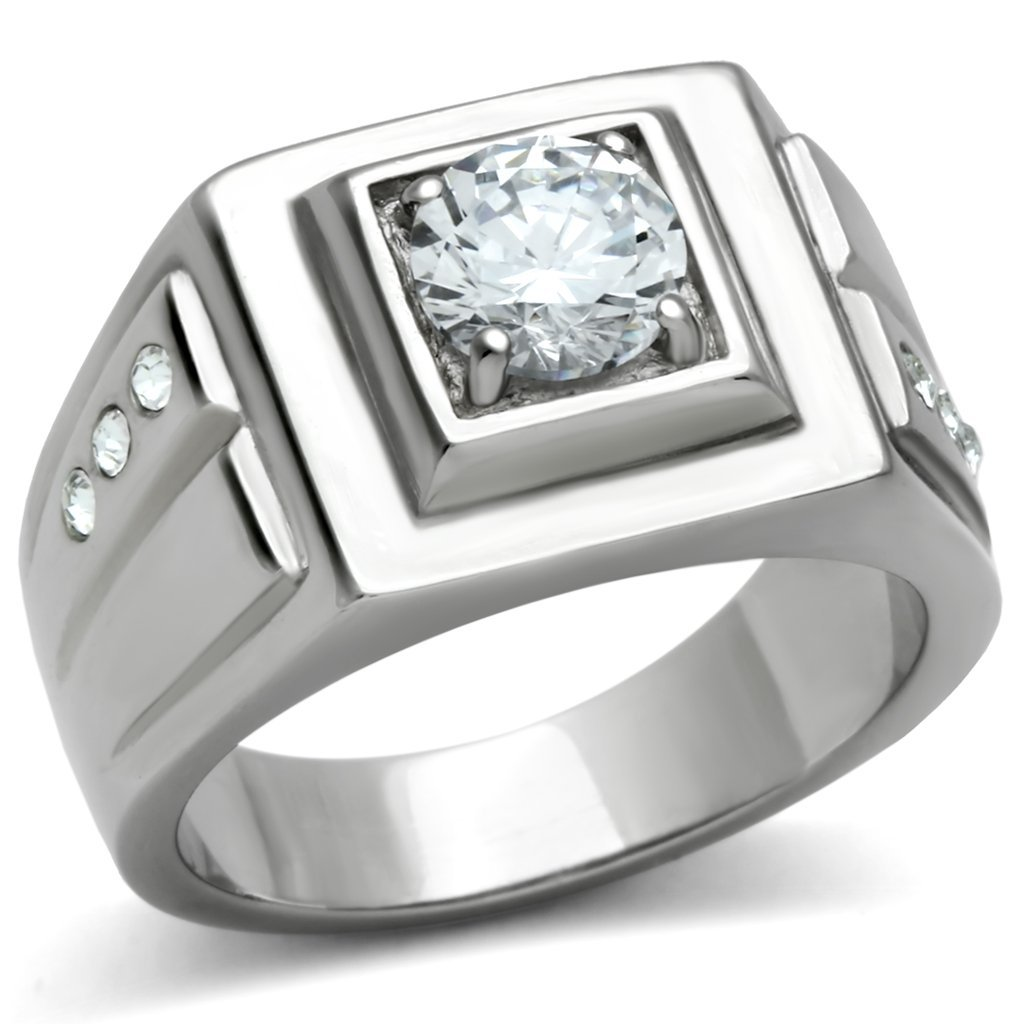 TK313 High polished Stainless Steel AAA Grade CZ Round Cut Men's Ring