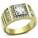 TK755 Two-Tone IP Gold Stainless Steel AAA Grade CZ Oval Cut Men's Ring