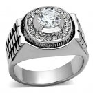 TK948 High polished Stainless Steel AAA Grade CZ Round Cut Men's Ring