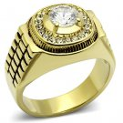 TK948G IP Gold Stainless Steel AAA Grade CZ Round Cut Men's Ring