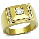 TK732 IP Gold Stainless Steel AAA Grade CZ Round Cut Men's Ring