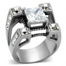 TK1072 High polished Stainless Steel AAA Grade CZ Square Cut Men's Ring