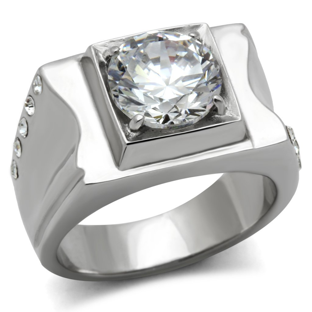 TK311 High polished Stainless Steel AAA Grade CZ Round Cut Men's Ring
