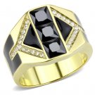 TK3721 IP Gold Stainless Steel AAA Grade CZ Black Diamond Men's Ring