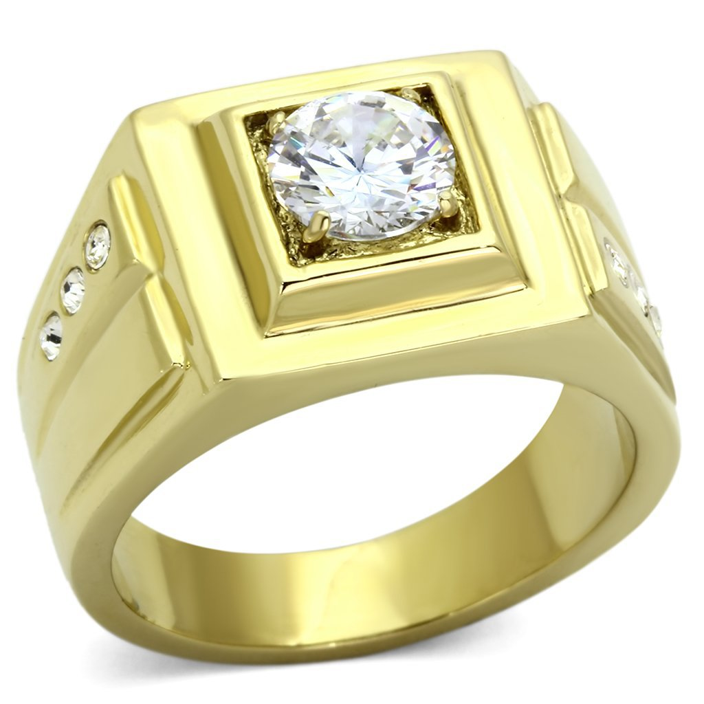 TK791 IP Gold Stainless Steel AAA Grade CZ Round Cut Men's Ring