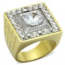 TK1359 Two-Tone IP Gold Stainless Steel AAA Grade CZ Round Cut Men's Ring