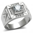 TK486 High polished Stainless Steel AAA Grade CZ Round Cut Men's Ring