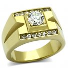 TK777 IP Gold Stainless Steel AAA Grade CZ Round Cut Men's Ring